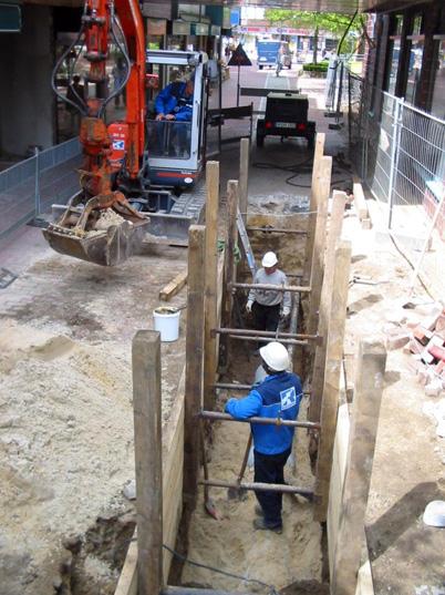 Erneuerung Regenentwässerung in der Fußgängerzone in Harburg