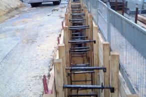 Waagerechter Bohlenverbau, Tiefe bis 4,5 m